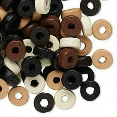 100 Earth Tones 8mm Round Rondelle Painted Wood Beads