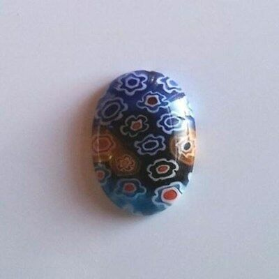 Millefiori Art Glass Cabochons 18x13mm Oval Cabs Multi Colored with Flowers (2)