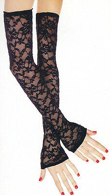Music Legs 475 Fingerless Gloves Floral Lace Opera X Long Stretch One Size Black