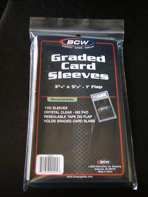 LOT of 200 BCW Resealable Graded Baseball Trading Card Poly Sleeves bag