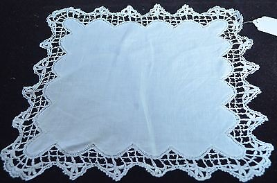 Yummy Vintage Antique Linen Wedding Hanky With Lace Edges  Pp271