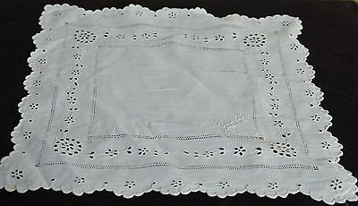Superb Antique Hand Made Eyelet Embroidered Wedding Hanky  Pp276