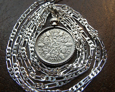 "Classic English Rare Silver Sixpence Pendant on a Silver chain up to 30"" or 76cm"