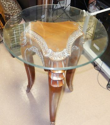 Round Glass Top And Wood Base Table