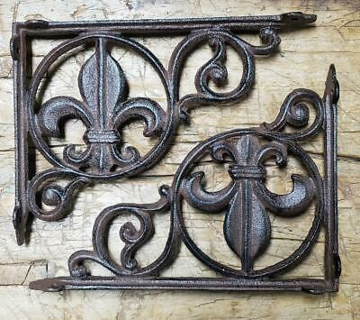 4 Cast Iron Antique Style Fleur De Lis Brackets, Garden Braces Shelf Bracket