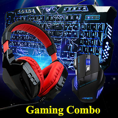 M200 3 LED Illuminated Gaming Keyboard CT-820 Red Headset T80 Wired Mouse Combo