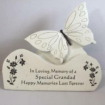 SPECIAL GRANDAD BUTTERFLY ON ROCK Grave Memory Funeral Tribute Graveside Garden