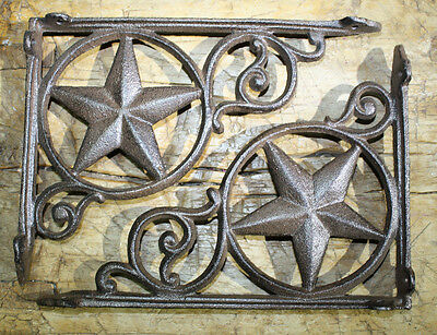 4 Cast Iron Antique Style Star Brackets, Garden Braces Shelf Bracket RUSTIC