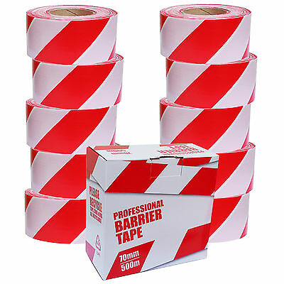 10 Rolls Safety Hazard Warning Barrier Tape Non Adhesive Red & White 70mm x 500m