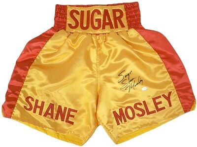 Sugar Shane Mosley Autographed Yellow & Red Custom Boxing Trunks JSA
