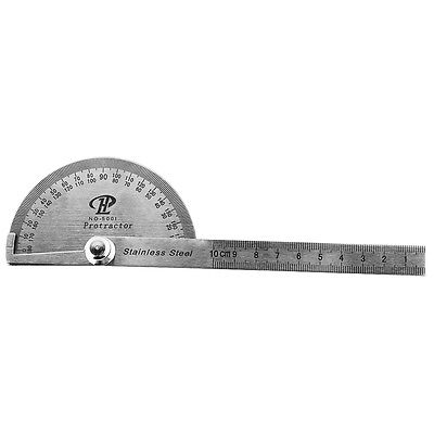 Stainless Steel Round Head Rotary Protractor Angle Finder Rule Gauge Tool
