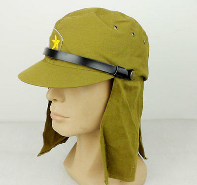 WWII Japanese Army Soldier Cap Hat Summer Cotton Size XL-D890