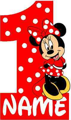 IRON ON TRANSFER - RED Minnie Mouse 1st Birthday GIRL WITH POLKA DOTS - 16X10cm