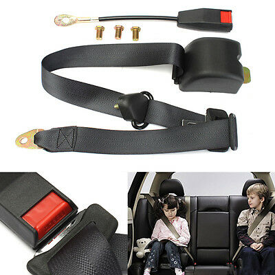 Universal Retractable Vehicle 3 Point Fixed Auto Car Safety Seat Belt Kit Black
