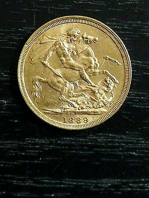 1889 S Sovereign Queen Victoria Jubilee Head Gold coin St George Reverse Sydney