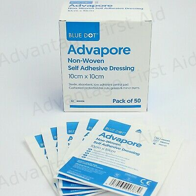 Adhesive Wound Dressings Big Plasters Post Operative. 10 x 10cm. Advapore. Qty 5