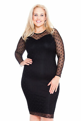 Womens Dress Plus Size Ladies Bodycon Sweetheart Midi Polka Dot Lace Nouvelle