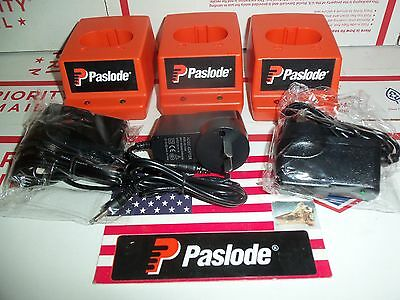 PASLODE # 901230  Charger Bases - Lot of 3 Charger bases + 3 AU Power Adapters