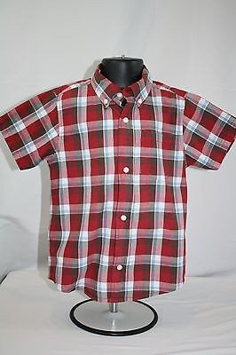 Toddler Boy Gymboree Red Plaid Short Sleeve Button Down Shirt size 4T
