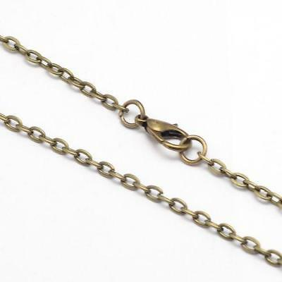 "Antiqued Brass Steampunk Victorian Vintage Style 31.5"" Rolo Cross Chain Necklace"