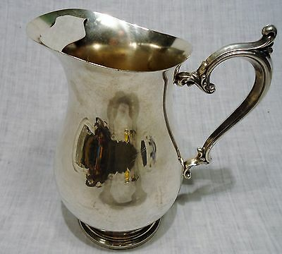 Vintage Silver Plate Water Pitcher Round Base With Ice Lip Ornate Handle