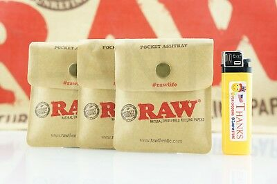 "3x AUTHENTIC Raw Rolling Paper Blunt Pocket Reusable Odor-Free Ashtray 3.5"" x 3"""