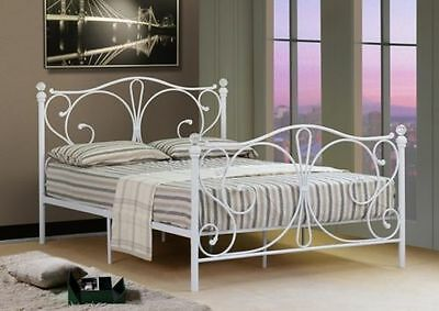 SALE! New French Style Bed Frame*Crystal Knobs*White Metal Furniture Shabby Chic
