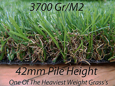 Artificial Astro Grass 2m Wide Quality Fake Lawn Turf 42mm 3700gr/m2 - £29.99 m2