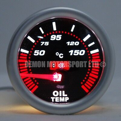 "52mm (2"") Smoked LED Oil Temp Temprature Gauge 50 - 150 deg C (Universal)"