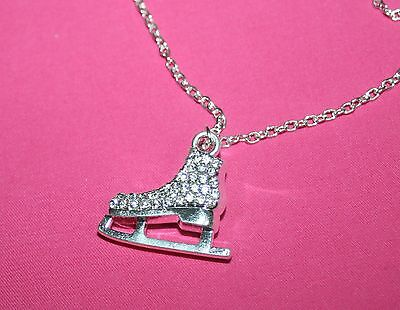 Impressive Gift !!  Ice Skate Necklace With Crystals