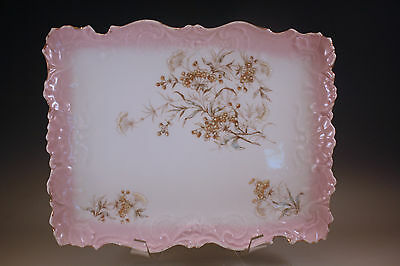Victorian Soft Paste Porcelain Embossed Vanity Tray, Pink