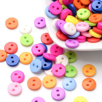2000Pcs LOT Wholesale 9mm Flat Round 2-Hole Resin Buttons Mixed Color Sewing DIY