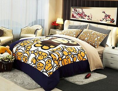 New 2015 Unique Ape Bape Baby Milo Bedding Set 4pc Queen Size Cotton RARE