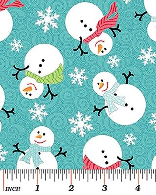 Fat Quarter Holiday Snowglobe Snowmen 100/% Cotton Quilting Fabric Black