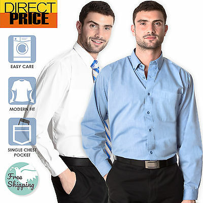 Mens CVC Business Shirts Office Corporate Wedding Formal Cotton Rich Blue White