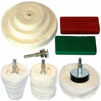 Silverline 9pc Polishing Kit Dome Goblet Cylinder Mop Buffing Wheel Compound