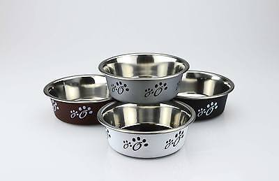 Pack of 2 Stainless Steel & Plastic Cat Bowls Anti Slip PawPrint Design