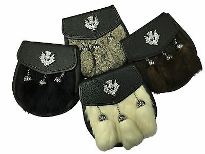 New Mens Scottish Thistle Semi Dress Rabbit Fur Sporrans 4 Colours Available!
