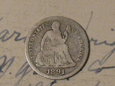 1891 Seated Liberty Dime - Old United States Silver Coin