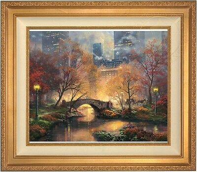 Thomas Kinkade Central Park In the Fall 20 x 24 LE S/N Canvas (Gold Frame)