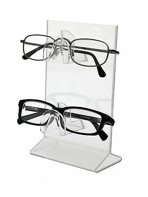 Lot of 24 Clear Acrylic 2 Tier Sunglass Eyeglass display Stand with 4x6 Insert