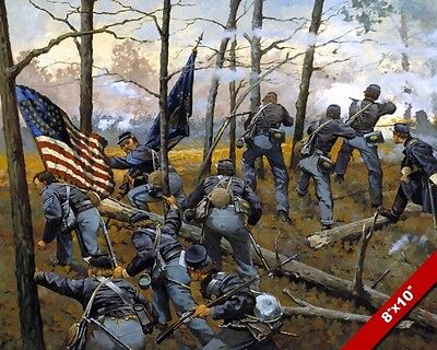 Us Civil War 9Th Infantry At Shiloh Painting Military History Art Canvas Print