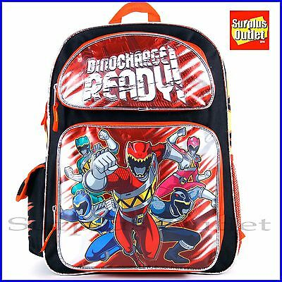 "Power Rangers Backpack 16"" Large Book Bag Lunch Bag 2pc Set"