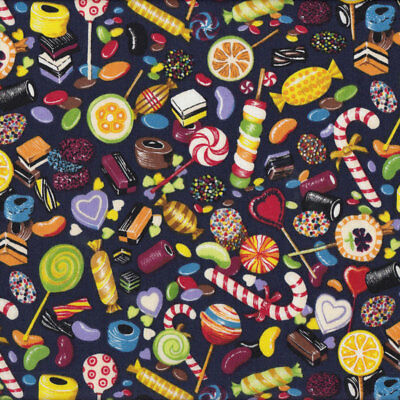 Lollies Liquorice Allsorts Candy Lollipops Sweets Quilt Fabric FQ or Metre *New*