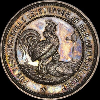 """""""rooster"""" Germany 1880 Silver Medal """"finest & Only"""" @ Ngc & Pcgs Ms63 Toned"""