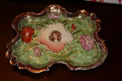 Antique Royal Saxe ES Germany Porcelain TRAY Green/Red/Carnations Lady Portrait