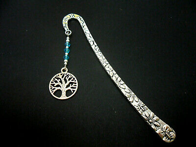 A Tibetan Silver  Tree Of Life  Charm & Blue Crystal Beads  Bookmark. New.