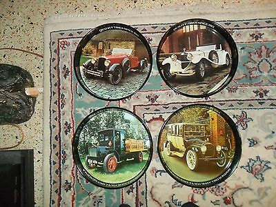 Vintage GENERAL TIRE Serving Tray Lot Of 4 STEEL TRAYS Antique Cars Packard ect