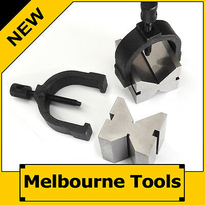 Pair of Professional Precision V Block and Clamp Kit, Hardened Ground Vee Holder
