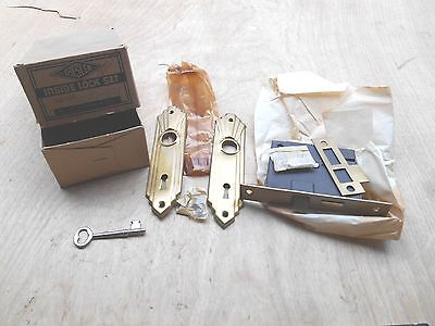 Vtg Chesler Mortise Type Inside Lock Set,with Skeleton Key,brass Finish,no Knobs